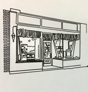 line art of the first library in 1965